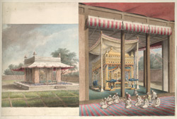 Two views on the one sheet of the exterior and interior of the temporary tomb of Sa'adat 'Ali Khan at Lucknow